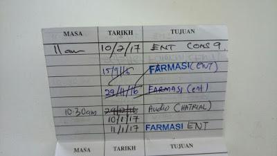 Appoinment Card Hospital Putrajaya