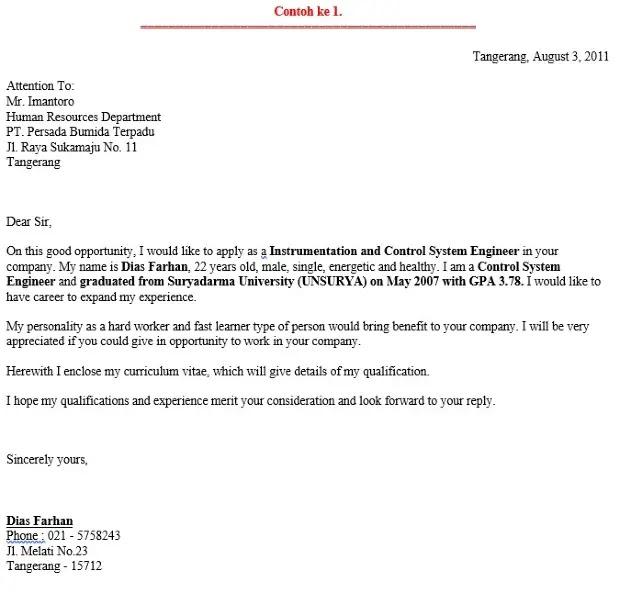 contoh job vacancy dan surat lamarannya dalam bahasa inggris