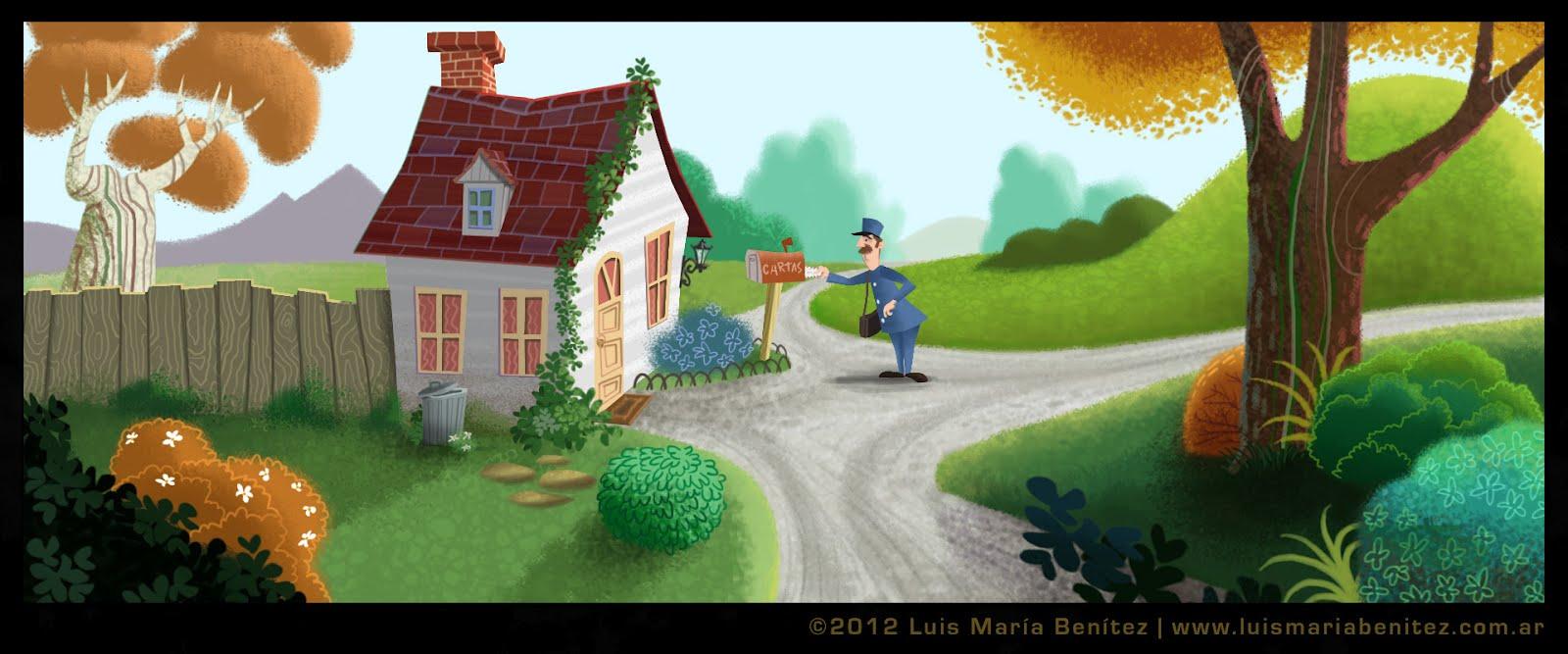 The mail man illustration / Ilustración del cartero © Luis María Benítez