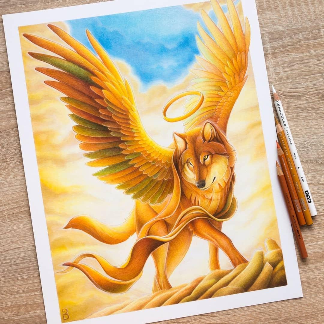 06-Winged-Wolf-Łukasz-Andrzejczak-Fantasy-Art-and-Animals-www-designstack-co