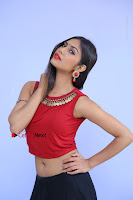 Telugu Actress Nishi Ganda Stills in Red Blouse and Black Skirt at Tik Tak Telugu Movie Audio Launch .COM 0047.JPG