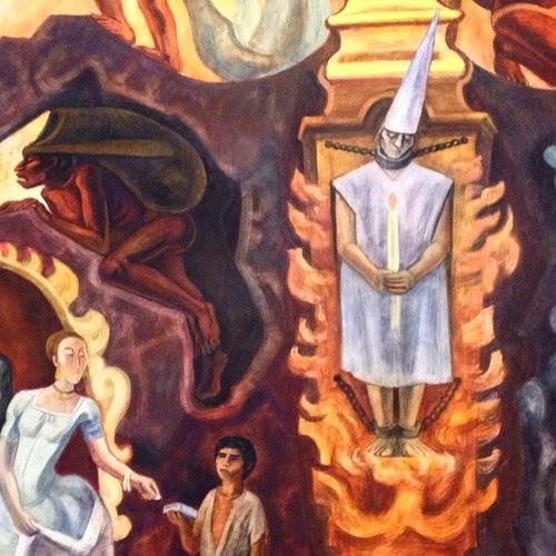 Detalle del mural de José Chávez Morado donde se vé a un condenado por la inquisición amarrado con cadenas y sosteniendo una vela mientras que una aristócrata de origen europeo da un limosna a un niño pobre indígena mexicano.