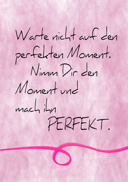 Der perfekte Moment, lettering card