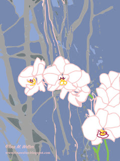 White Orchids, Pink Outline, 4x3 digital art, ©2016 Tina M. Welter