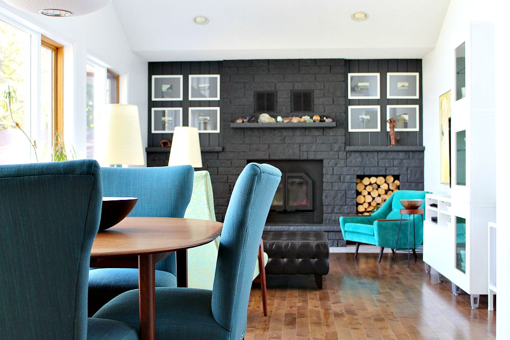 Blue Tweed Dining Chairs / Mingo Chair / Charcoal Grey Fireplace