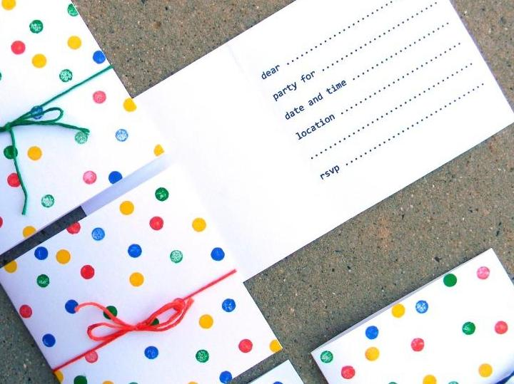 Polka dot birthday invitations bright apple blossom i made a free printable of the invites as simple as they are youll get to do whatever you want to the front be it dots stamps scribbles or doodles filmwisefo