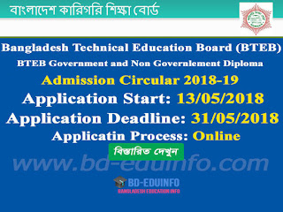 BTEB Government and Non Government Diploma Admission Circular 2018-19