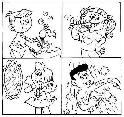 Atividades para Colorir: Desenhos de Higiene Corporal e