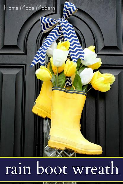 rain boot wreath