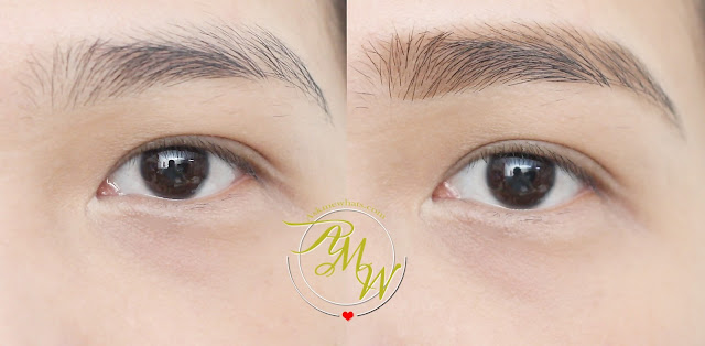 before and after photo of Maybelline FashionBrow 3D Brow & Nose Palette Review
