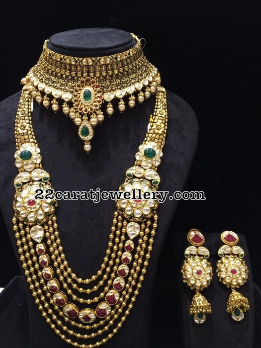 Kundan Floral Long Chain Antique Choker