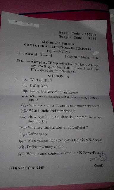Computer Application in Business question paper of M.com 2nd sem