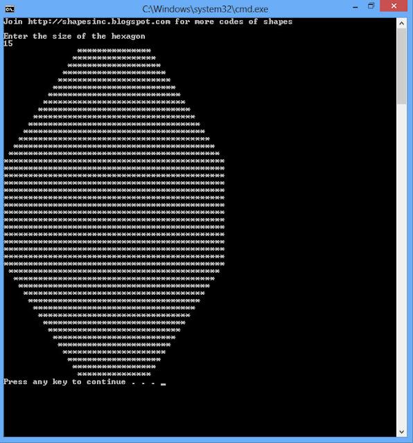 Shapes in C++ - Free | C++Tutorial | Online : Hexagon