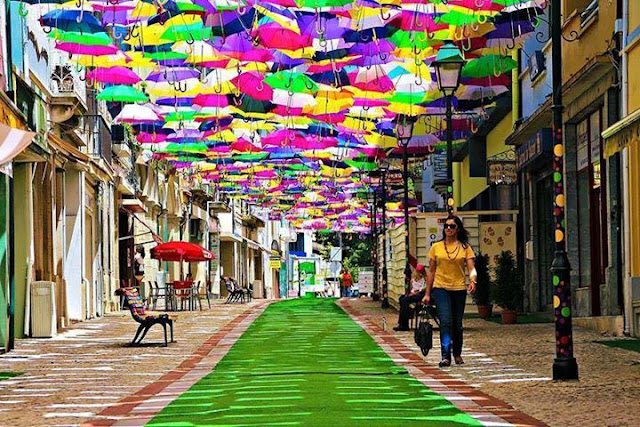 A lot of umbrellas in the streets of Portugal
