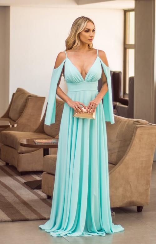 vestido longo tiffany para madrinha