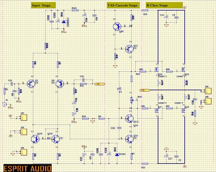 ESPRITAUDIO: Mosfet Amplifier 100W Example Schematic: AB ...