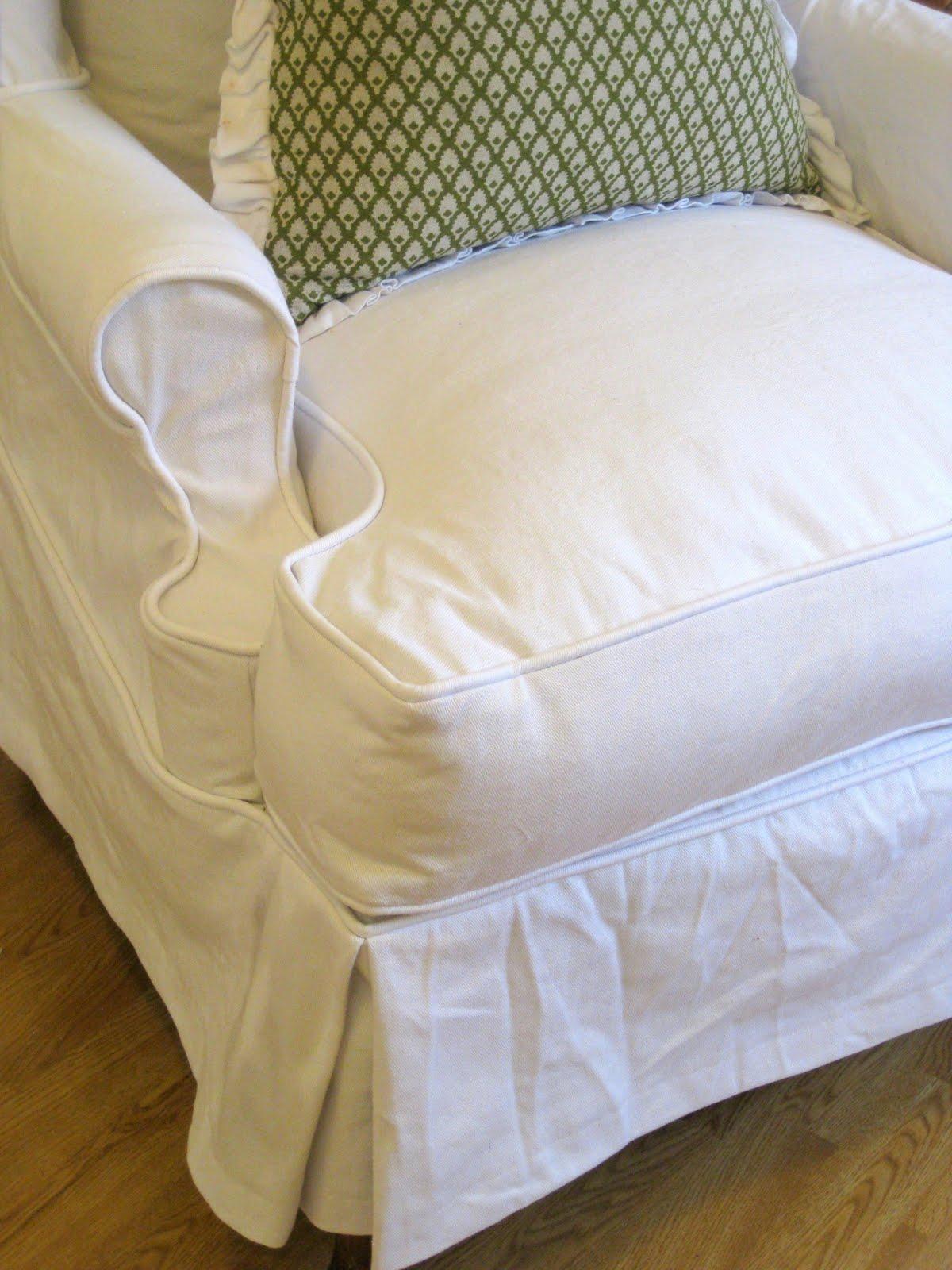 Custom Slipcovers By Shelley White Denim Wingback Chair