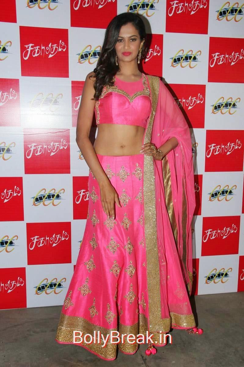 Tamil Actress Shubra Aiyappa, Shubra Aiyappa Latest Hot Pics In Pink Lehenga from Sagaptham Movie Audio Launch
