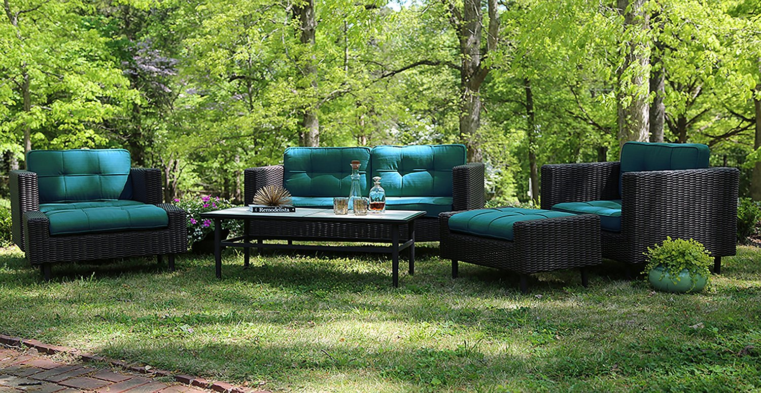 Ae Outdoor 6 Piece All Weather Wicker Wright Deep Seating Sofa Set With Sunbrella Fabrics