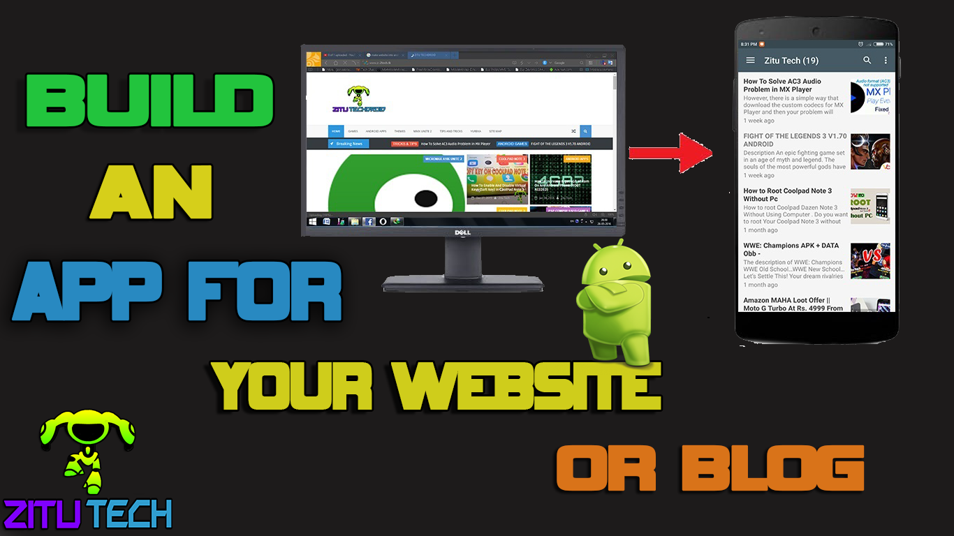 how to create android app for website