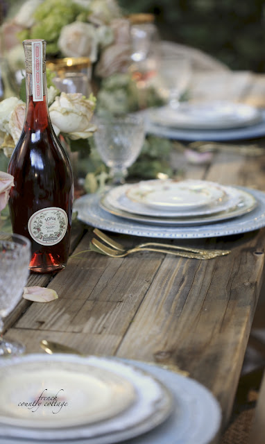 Rustic table top with floral plates