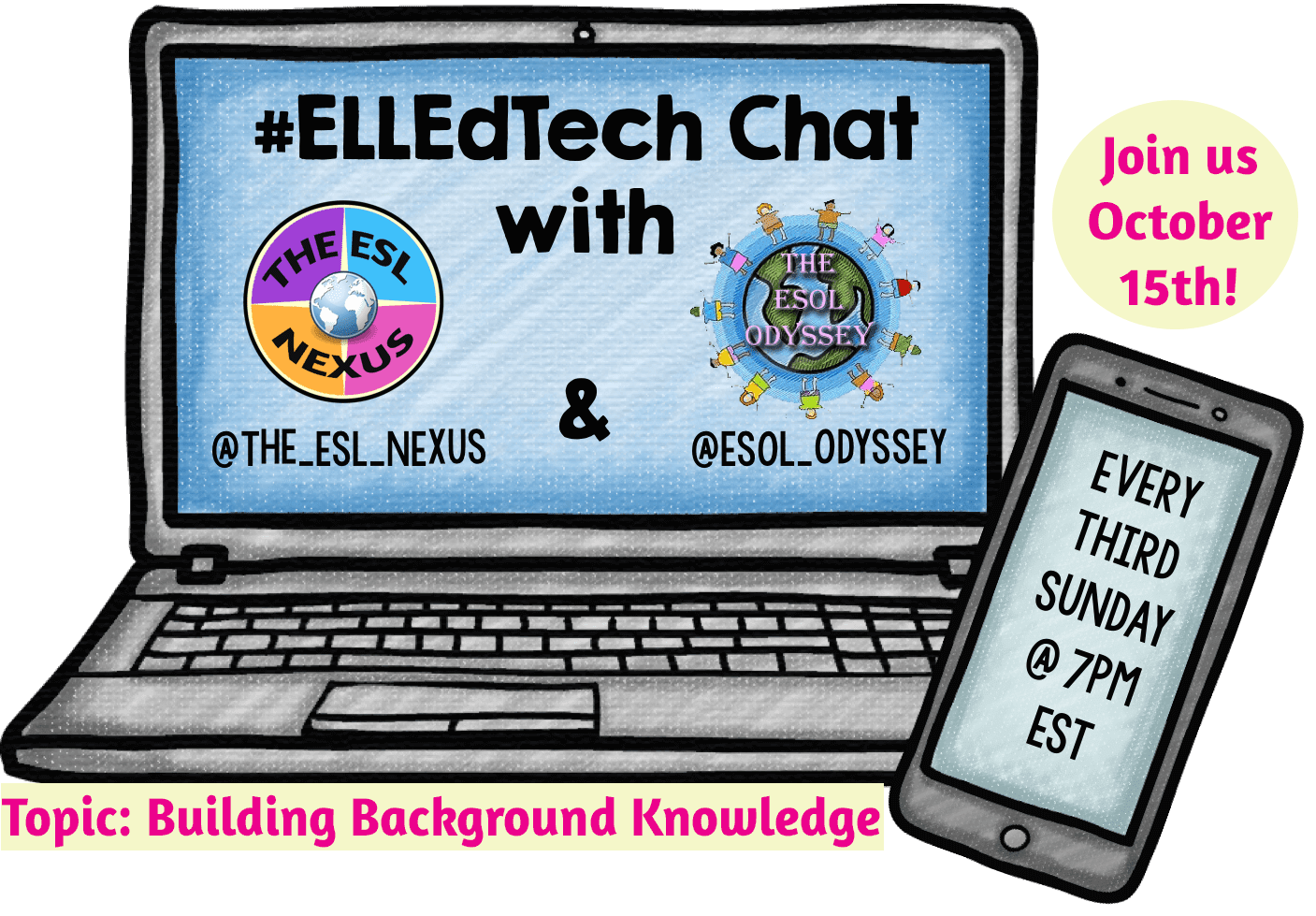 You are invited to the October #ELLEdTech chat on 10/15/17, where we'll discuss using technology tools to build background knowledge | The ESL Nexus
