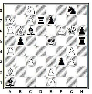 Problema de mate en 2 compuesto por Henk Prins (3º Premio, Mémorial J. Hartong Probleemblad 1988-89)
