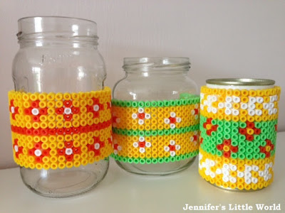 Hama bead jam jar covers