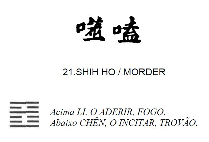 Imagem de 'Shih Ho / Morder' - hexagrama número 21, de 64 que fazem parte do I Ching, o Livro das Mutações