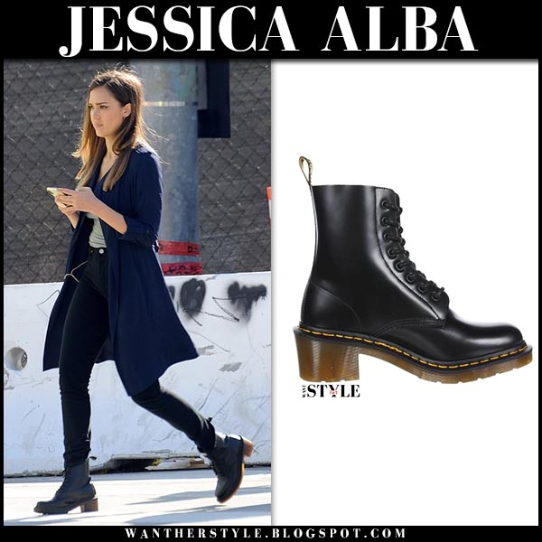 Jessica Alba in dark blue coat and black lace up heel boots dr. martens clemency la's finest set december 17