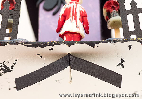 Layers of ink - Spooky Glittery House with Tim Holtz Sizzix Brownstone die