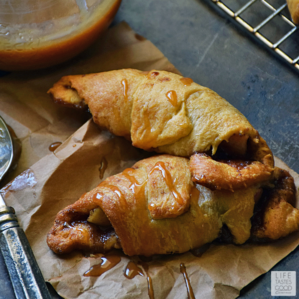 Apple Pie Crescent Rolls | by Life Tastes Good | Sweet cinnamon apple goodness tucked inside a buttery, flaky crescent roll and dipped in homemade caramel sauce leaves you feeling all warm and fuzzy! Perfect for Thanksgiving! #LTGrecipes #warmtraditions
