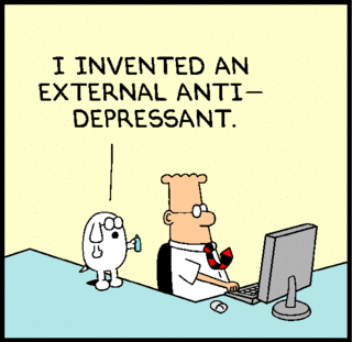 Dilbert strip: I invented an external antidepressant