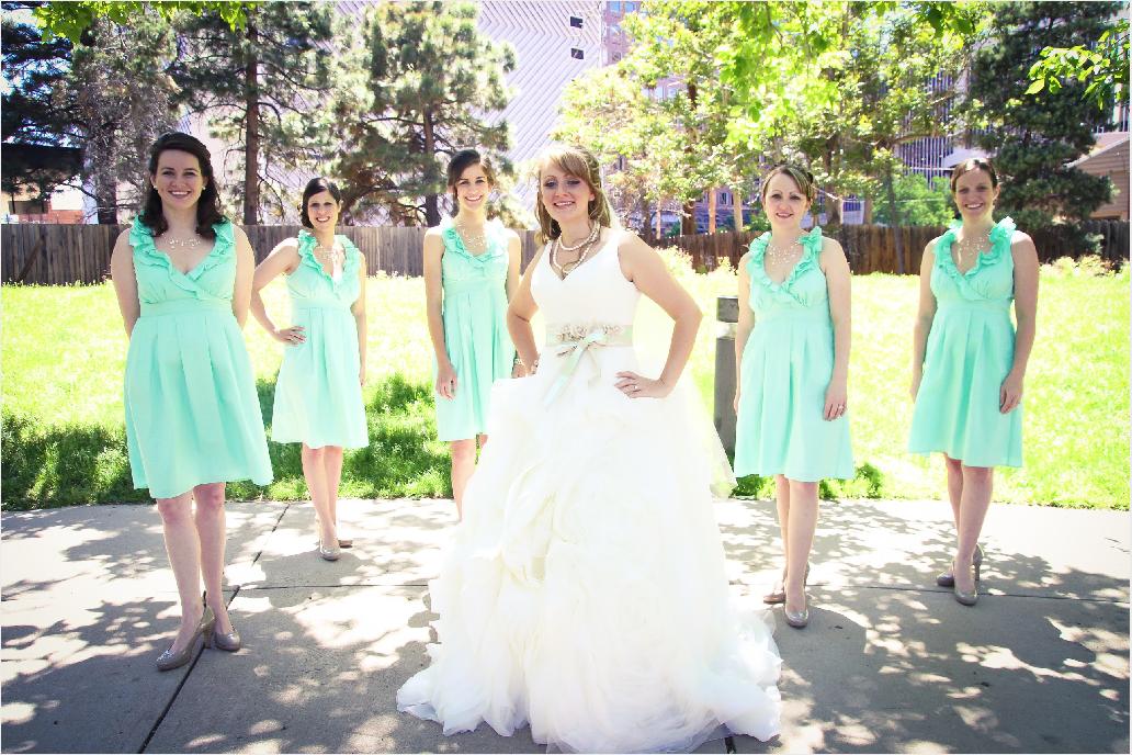 Independent Designer: Real Wedding: Mint Bridesmaid Dress