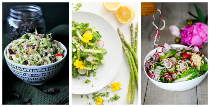 3 colourful vegetable salads