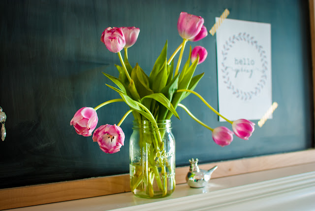 Farmhouse Style Chalkboard with Spring Flowers