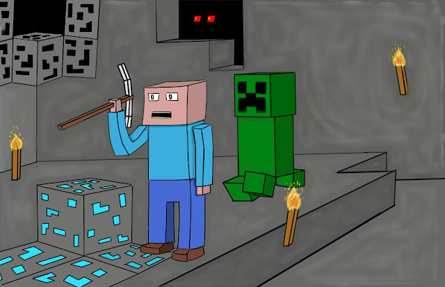 caricatura minando diamante creeper