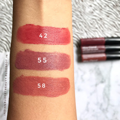 miss claire soft matte lip cream 42, 55, 58 swatch