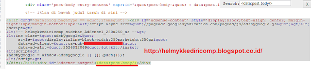 Memasang Iklan Adsense Dalam Postingan Blog