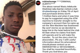 Lagos 'big boy' absconds after taking drinks worth N1.1M in nightclub