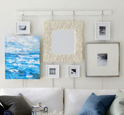 Coastal Art Gallery with Coral Mirror