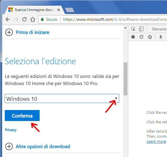 Download ISO Windows 10 sezione Seleziona edizione