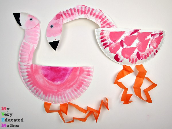 Kids craft perfect for learning about how what we eat effects our appearance. Paper Plate Flamingos.