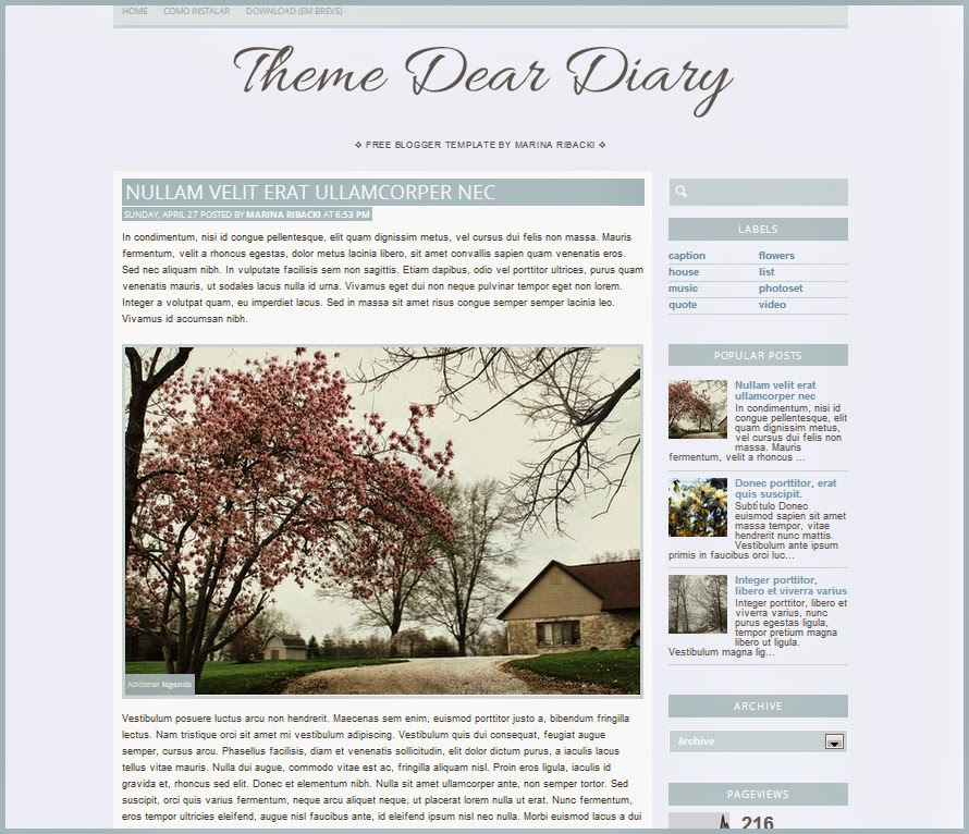 Free blogger template dear diary