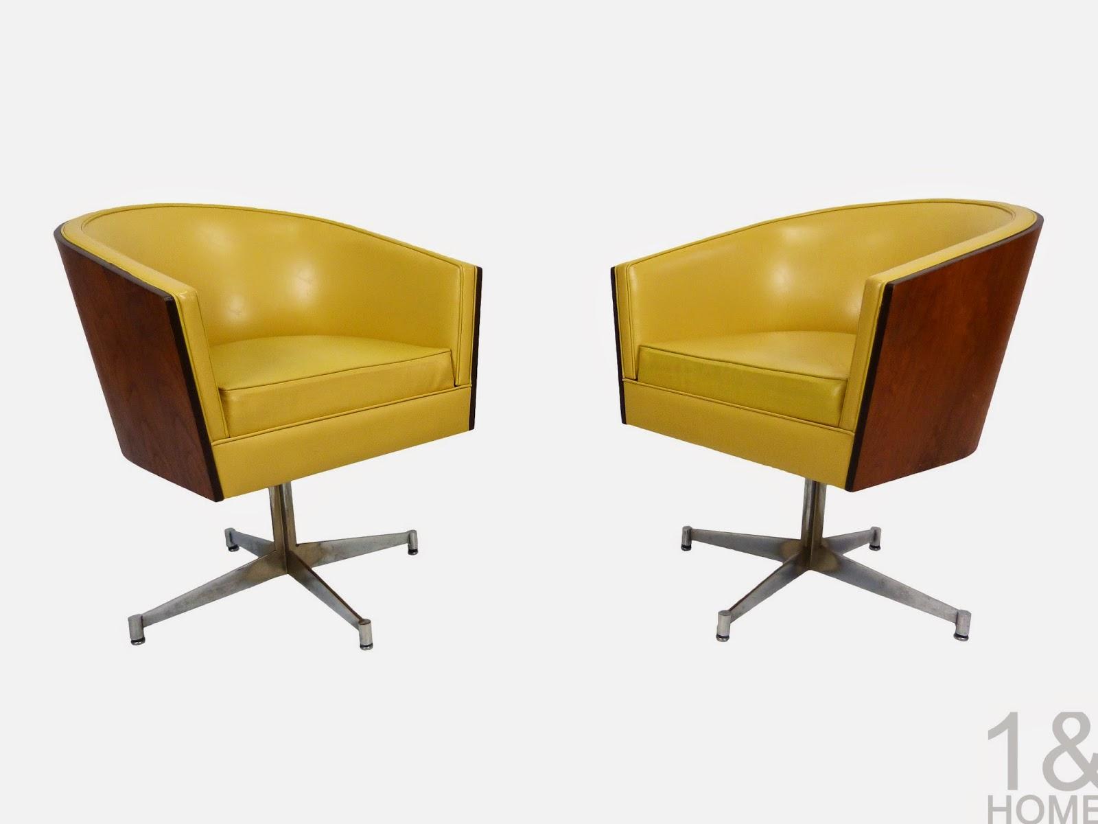 Custom Craft - American Design Foundation Collection - Swivel Tub Barrel Chair - Mid-Century  Modern