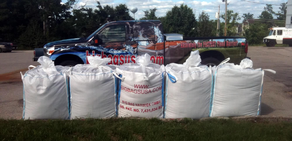 Professional On-Site instruction on best practises of how to deploy the Big Bags USA five connected bulk bag systems for roadside or perimeter flood defense. % success rate .