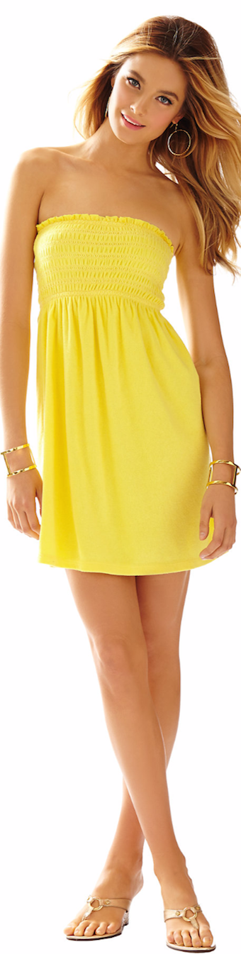 LILLY PULITZER BRIGITTE STRAPLESS SMOCKED DRESS YELLOW