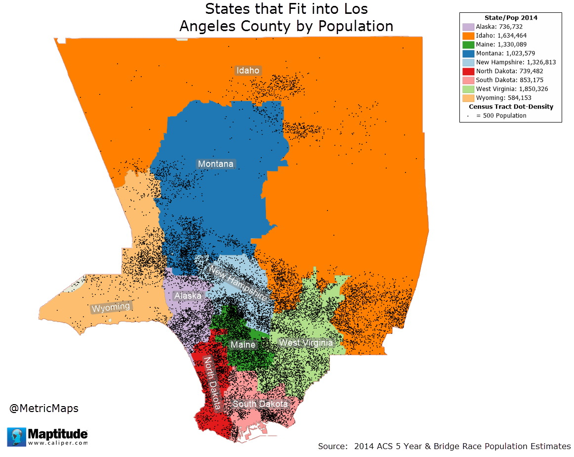 9 States fit into Los Angeles county by population