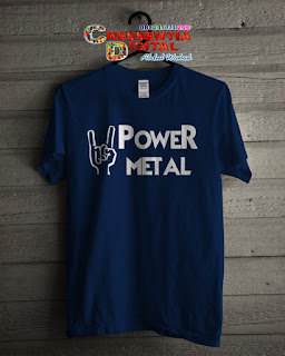 baju kaos Distro power metal warna Biru Dongker