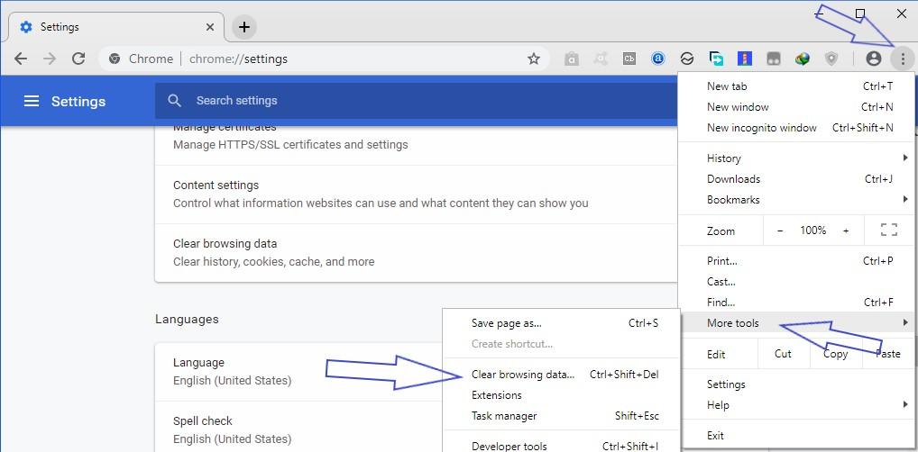 Chrome clear browsing window